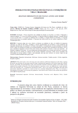 Imigrantes bolivianas em São Paulo: condições de vida e trabalho.