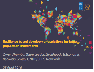 Resilience based development solutions for large population movements