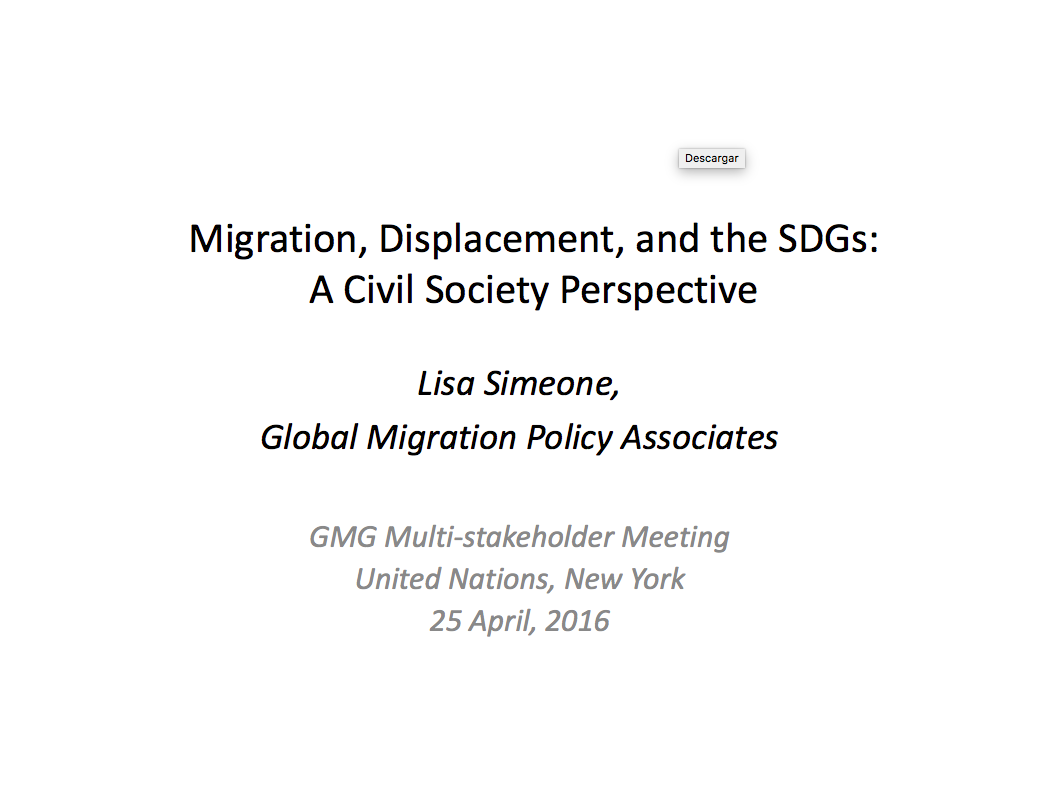 Migration, displacement and the SDGs: A civil society perspective