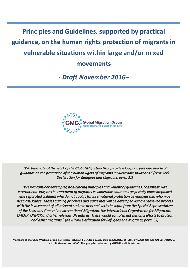 Draft: Principles and Guidelines, supported by practical guidance, on the human rights protection of migrants in vulnerable situations within large and/ or mixed movements.